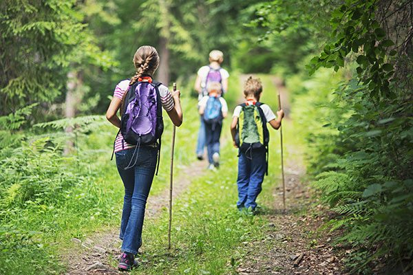 A family hiking through the forest
