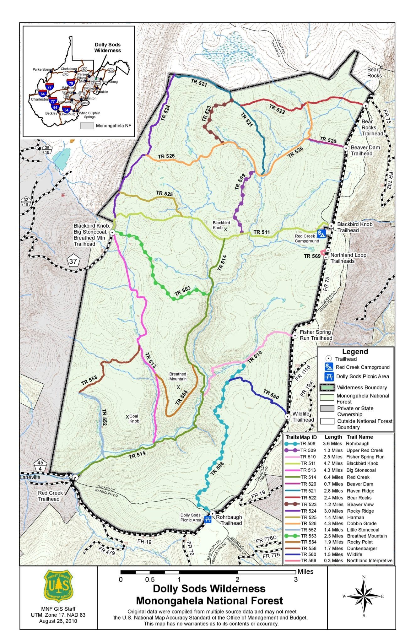 map of dolly sods hikes and trails