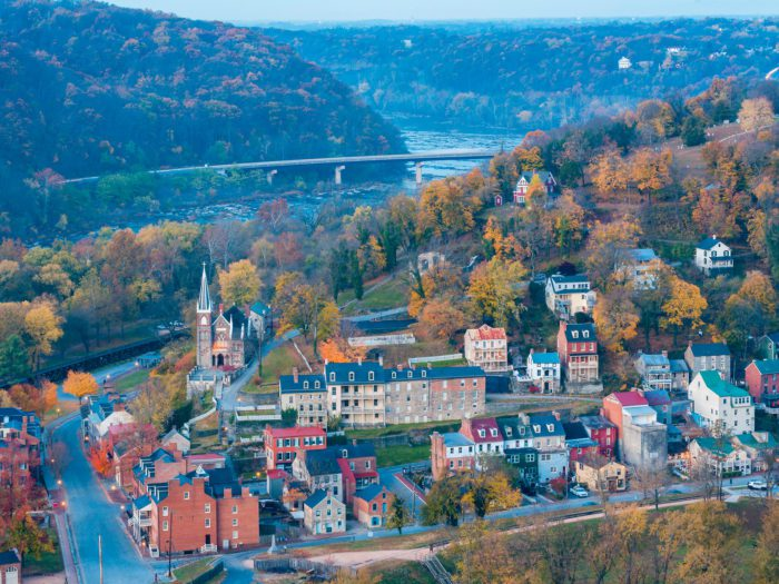 aerial shot of harpers ferry in west virginia